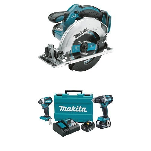 Makita XSS02Z 18V LXT Lithium-Ion Cordless Circular Saw, 6-1/2-Inch, Tool Only with Makita XT269M 18V LXT Lithium-Ion Brushless Cordless 2-Pc. Combo Kit (4.0Ah) (Kit Circular Saw Makita)