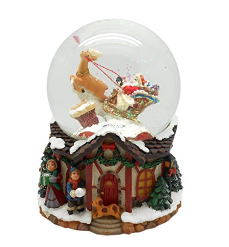 Lightahead Musical Santa Water Snow Globe Playing a Tune & Rotating for Christmas in PolyResin 80MM (Santa on Sledge) (Snow Blowing With Snow Globe)
