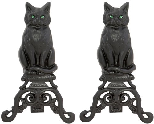 Uniflame, A-1251, Black Cast Iron Cat Andirons with Reflective Glass Eyes