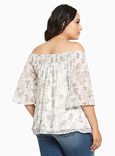 Paisley Print Chiffon Off Shoulder Top