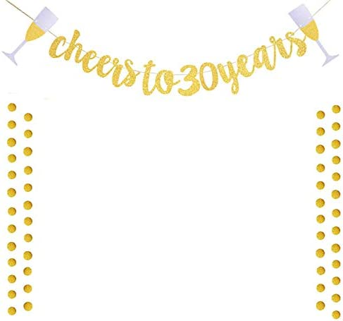 Nenluny Cheers to 30 Years Banner with Golden Glitter Circle Dots Set for 30th Birthday Party Decorations