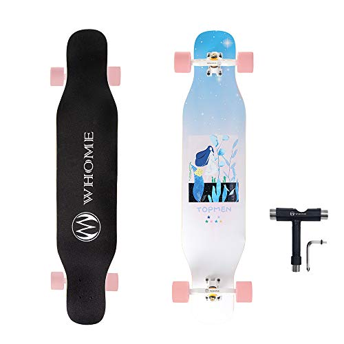 WHOME PRO Dancing Longboard Complete for Adults and Beginners - 42 Inch Dancing Boarding Skateboard for Dance Freestyle Cruising Carving 8 Layer Alpine Hard Rock Maple Includes T-Tool