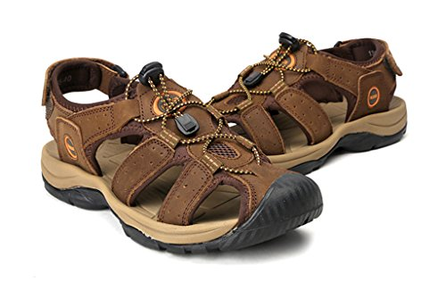 SOGXBUO XW Costume Mens Leather Sandals Athletic Outdoor Shoes Summer Beach Mules Velcro Sports Sandals eXVxvihu