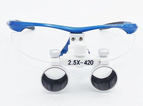 NSKI Dental Surgical Medical Binocular Loupes 2.5X420mm Optical Glass DY-101 Plastic Frame with Antifog Blue