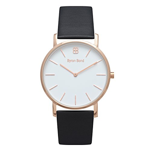 38mm Ultra Thin Slim Case Minimalist Fashion Watch for Men & Women by Byron Bond (Wardour - Rose Gold Case with White Dial and Black Leather Strap) - Mens Elegance Black Dial