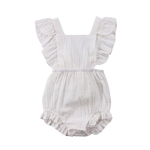 YOUNGER TREE Infant Baby Girl Twins Bodysuit Sleeveless Ruffles Romper Sunsuit Outfit Princess Clothes (12-18 Months, White Ruffle Romper) ()