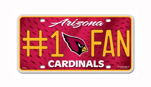 NFL Arizona Cardinals #1 Fan Metal Auto Tag