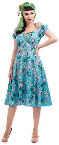 Tropical Tropischen mit Flamingo Motiven Kleid Collectif Damen Swing Dress Dolores Hellblau xgnCRw7