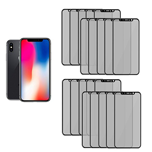 20PK- Reliable and Long Lasting Privacy Screen Protector for Apple iPhone X by SkylerShield, Scratch Proof Anti Spy 3D Full Cover Tempered Glass Screen Protector for Apple iPhone X, iPhone 10 by SkylerShield