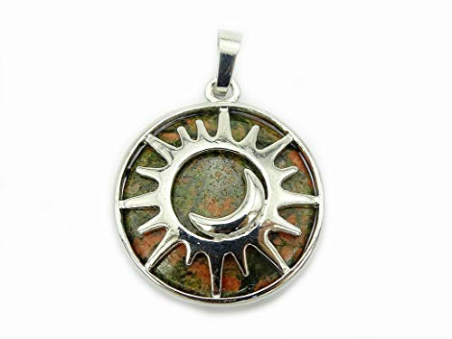 jennysun2010 Natural Unakite Gemstone Sun and Moon Reiki Chakra Healing Pendant Charm Beads Silver Plated 1 Piece per Bag for Necklace Earrings Jewelry Making Crafts Design