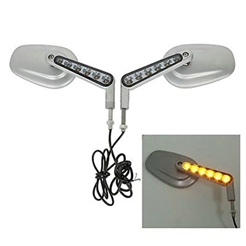 Silver Muscle Rear View Mirrors LED Turn Signals For Harley Davidson VROD - Worldwide Sunglasses Shipping