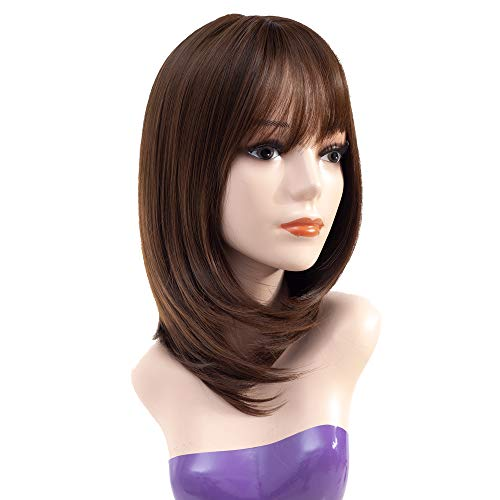 - Queentas 14inch Shoulder Length Short Bob Wigs with Air Bangs Layered Synthetic Hair Wigs for White Women (Dark Brown #8/30)
