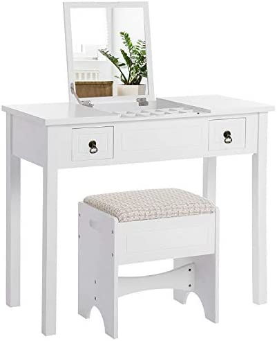 VASAGLE Vanity Set with Flip Top Mirror Makeup Dressing Table Writing Desk with 2 Drawers Cushioned Stool 3 Removable Organizers, Easy Assembly, White URDT01M