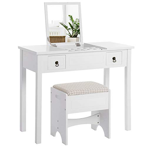 VASAGLE Vanity Set with Flip Top Mirror Makeup Dressing Table Writing Desk with 2 Drawers Cushioned Stool 3 Removable Organizers, Easy Assembly, White URDT01M (Vanity Set Furniture Table)