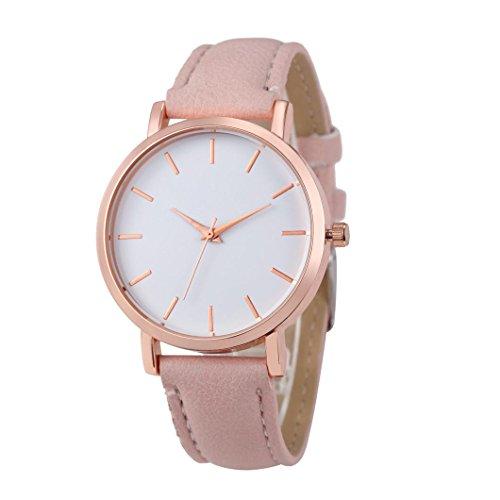 es Leather Stainless Men women Steel Analog Quartz Wrist Watch (Pink ) (Infinite Braid Ring)