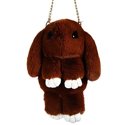 Crossbody Handbag Rabbit Faux Bunny Fur Shoulder Brown Bag Evaliana RBwXIxq