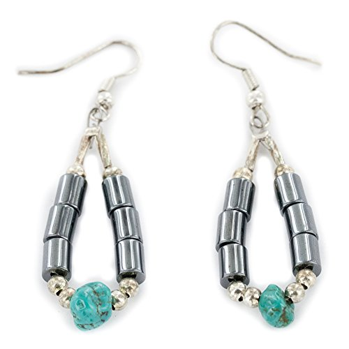 Native-Bay Authentic Made by Charlene Little Silver Hooks Dangle Natural Turquoise Hematite Hoop American Earrings