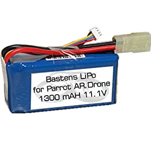 Bastens LiPo battery upgrade for the Parrot AR.Drone 1.0 - a high capacity alternative replacement battery - 15 to 20 minute flight time - will work with 2.0 aircraft but not the 2.0 charger