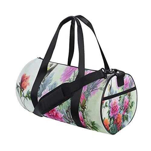 Gym Bag Peony Bird Duffel Bag for Men and Women Travel Sport