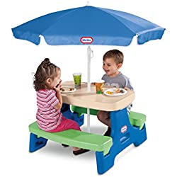 Little Tikes Easy Store Junior Picnic Table with Umbrella, Blue/Green
