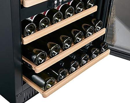 BODEGA43-40 Vinoteca integrada - Refrigerador de vino independiente con 2 zonas, 5-20 ºC, 130 litros, 40 botellas, 6 estantes, bajo ruido (39 dB) y muy poca vibración, en negro[Clase de eficiencia energética A]
