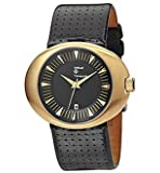 Replay Gents Watch Black Dial Gold Plated Case Black Patterned Leather Strap