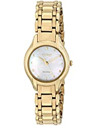 Citizen Eco-Drive Womens EM0282-56D Silhouette Analog Display Gold Watch