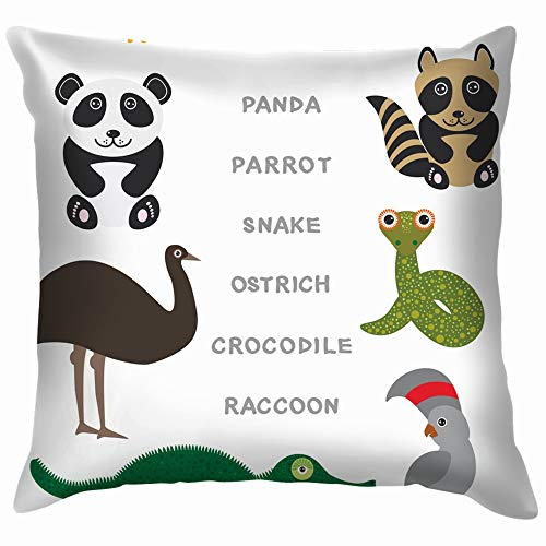 Kids Words Learning Game Worksheet Read Alligator Pillow Case Throw Pillow Cover Square Cushion Cover 24X24 Inch]()