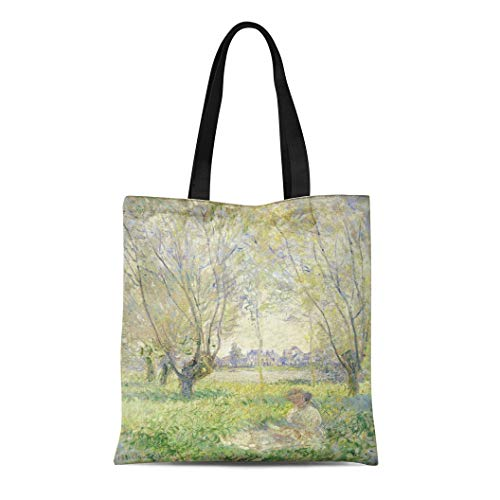 - Semtomn Canvas Tote Bag Shoulder Bags Woman Seated Under the Willows By Claude Monet 1880 Women's Handle Shoulder Tote Shopper Handbag