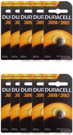 10 Pieces Duracell 390/389 SR54/SR1130W Silver Oxide Watch Batteries