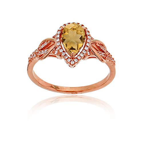 Sterling Silver Rose 0.17 CTTW Round Diamond & 8x5mm Pear Cut Citrine Knot Sides Ring