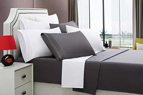 EMONIA Queen Size Bed Sheets - 400 Thread Count Long Staple Cotton Dark Grey Cooling Sheet Set, Fits Mattress 14'', Deep Pocket, Soft & Silky Sateen Weave 4 Piece Bedding Set