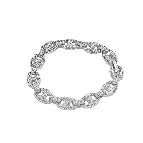 White Gold-Tone Iced Out Hip Hop Bling Staggered Cubic Zirconia Puffed Gucci Bracelet (Gucci White Bracelet)