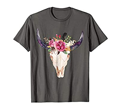 Cow Skull Art with Flowers T-shirt. Awesome gift for holiday