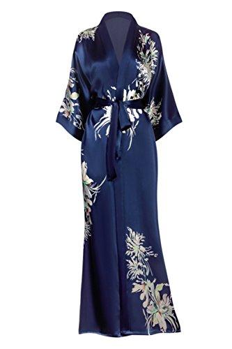 (KIM + ONO Women's Silk Kimono Robe Long - Floral Print, Yuri-)