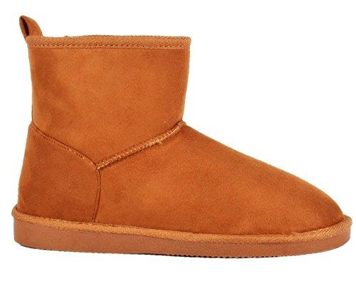 King Of Shoes Damen Stiefeletten Schnee Stiefel Boots Flache Schlupfstiefel Warm Gefüttert Winter Schuhe Q60 Camel