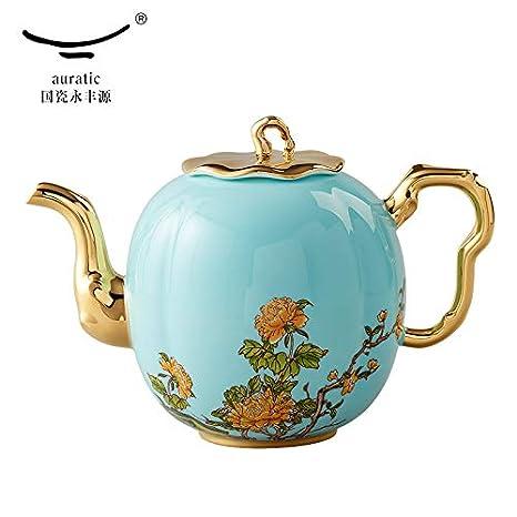 Auratic - Tetera de porcelana para café o agua (900 ml, 1100 ml), color dorado, cerámica, 1100ml: Amazon.es: Hogar