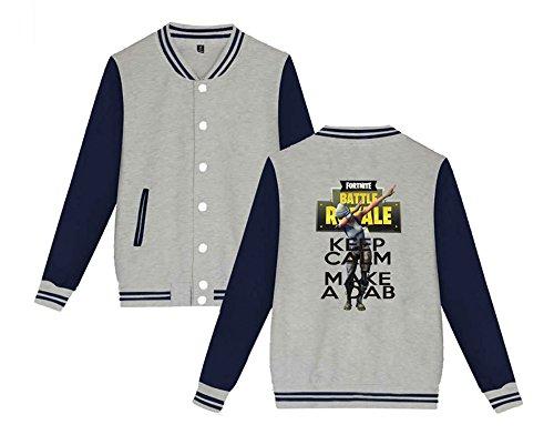 Sweatshirts Comode Leggera Baseball Stampate Uomini Moda Casual Per Allentato Unisex Grey2 Donne Giacca Aivosen Da Fortnite E qYPvznFx0