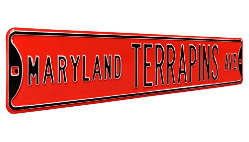 (Authentic Street Signs 70049 Maryland Terrapins Ave, Heavy Duty, Metal Street Sign Wall Decor, 36