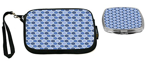 Rikki Knight Monaco Blue Teal Blue Shades Stained Glass Design Neoprene Clutch Wristlet with Matching Square Compact Mirror Monaco Clutch