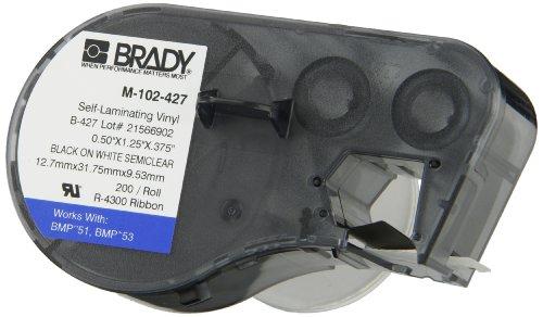 Brady Colored Labels (Brady M-102-427 Vinyl B-427 Black on White/Clear Label Maker Cartridge, 1/2