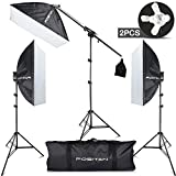 FOSITAN 3 x 20''x28'' Softbox Photography Lighting 2500W Continuous Photo Studio Lighting Kit with 3 x 70cm-2m Stand, 11 x 45W/5500K Daylight Bulbs, Boom, Softbox, Socket Heads, All-in-one Carry Bag