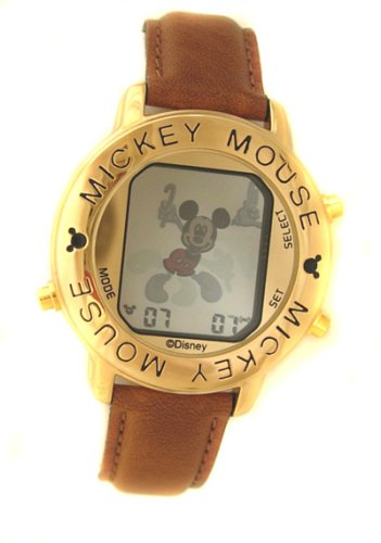 Disney Mickey Mouse Digital reloj con correa de cuero: Disney: Amazon.es: Relojes