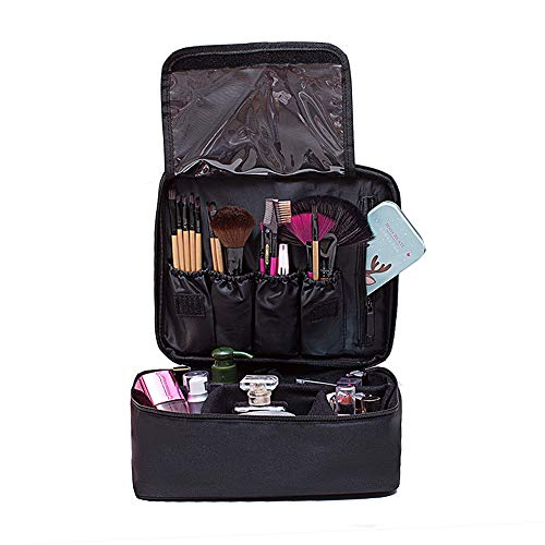 PFFY Travel Makeup Bag Toiletry Train Case Cosmetic Case Organizer Portable Waterproof Make Up Storage Bag with Adjustable Dividers for Women Girls black Color
