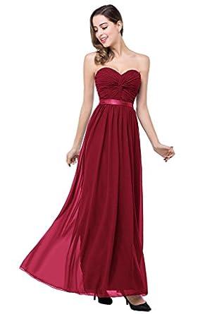 Amazon.com: Babyonline Ruched Chiffon Long Evening Dresses Women ...