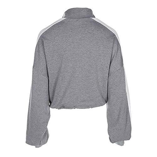 lunga maglione con Felpa di manica contrasto colore manica grigio casual autunno ragazza lunga donne di corto collare sexy donna Piecing Alian corto nYHw0fHq