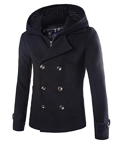 Mens Stylish Fashion Classic Wool Double Breasted Pea Coat with Removable Hood (D116 Black,XL)