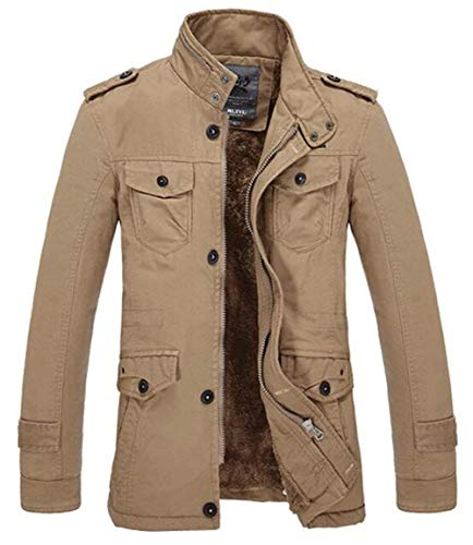 Men's Warm Outerwear Khaki Hooded Winterparka Winter Outwear Jacket Jacket Winter Parka Apparel Coat Quilted with Coat Outerwear Jacket rwqaT0rx
