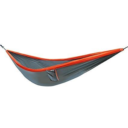 PVS Outdoor Parachute Nylon Cloth Camping Portable Double Person Hammock 300 * 200 cm-Gray+Orange