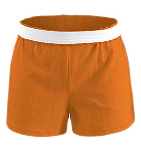 (Soffe Big Girls V-Notch Legs Exposed Elastic Waist Knit Short, Orange, Medium)